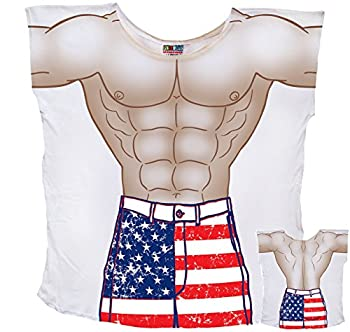 Mens Stars And Stripes Muscle Guy Coverup T-Shirt #74