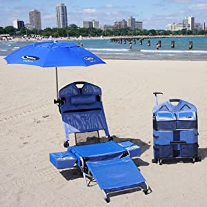 Beach Lounger Pack Chair with Speakers and Digital Amplifier by LoungePac