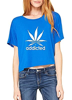 Artix Addicted White Weed Leaf Marijuana Cannabis Women Flowy Boxy T-Shirt
