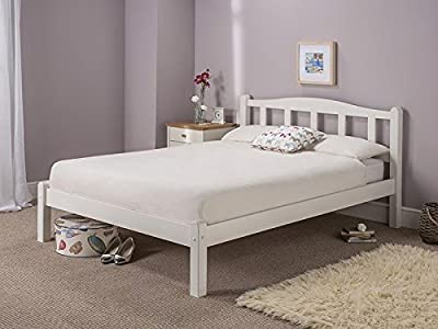 WHITE Solid Slatted Wood Amberley Bed Frame 3FT Single 4FT6 Double 5FT King Size