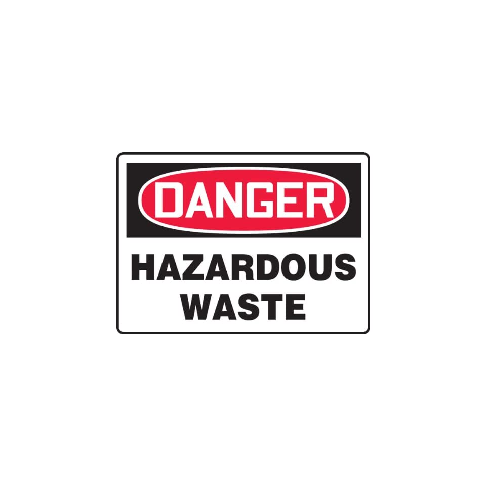 Accuform Signs MCHL288VP Plastic Safety Sign, Legend DANGER HAZARDOUS WASTE, 7 Length x 10 Width x 0.055 Thickness, Red/Black on White