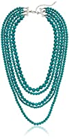 Blue Turquoise Stone 5-Row Multi-Bead…