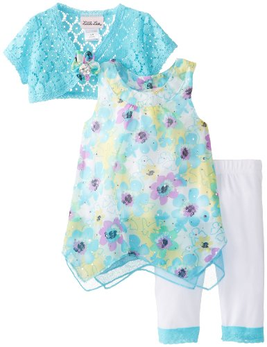 Little Lass Baby-Girls Infant 3Pc Skimp Knit Shrug and Cropped Legging Set Flowers, Turquoise, 12 Months