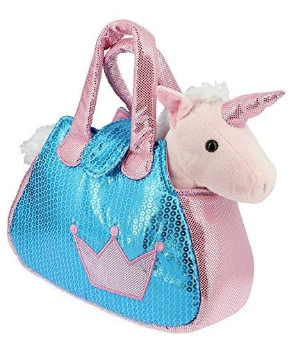 Sac-brillant-bleu-et-rose-avec-un-Licorne-rose-en-Peluche-28cm-Calidad-Soft