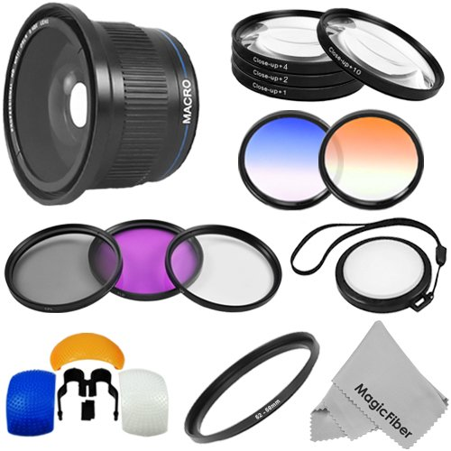 Professional Fisheye Lens and Accessory Kit for CANON Rebel (T5i T4i T3i T3 T2i T1i XT XTi XSi SL1), CANON EOS (1100D 700D 650D 600D 550D 500D 450D 400D 350D 100D 60D) – Includes: 58MM 0.40X Fisheye Lens w/ Macro Portion + Macro Close-Up Lens Set + Filter Kit (UV, CPL, FLD) + Pop-Up Flash Diffuser Set + 2 Graduated Color Filters + White Balance Lens Cap + MagicFiber Microfibers