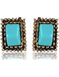 Cinderella Collection By Shining Diva Blue & Golden Alloy Stone Stylish Fancy Party Wear Stud Earrings For Girls...