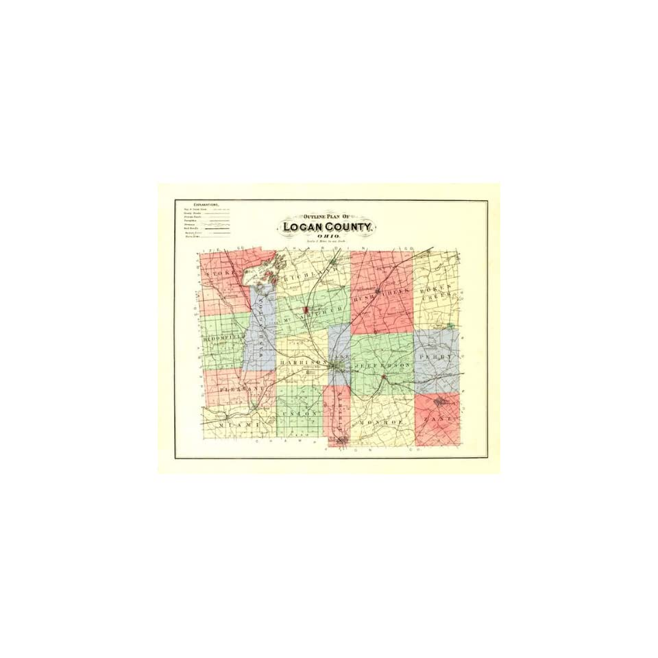 Logan County Ohio Oh Map 1890 On Popscreen