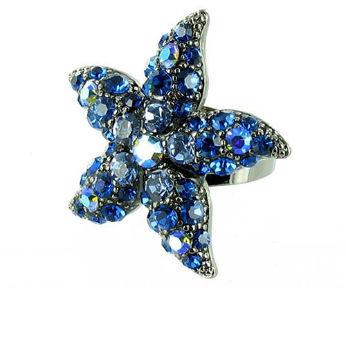 Blue On Silver Plated Starfish Beach Cocktail Ring front-665324