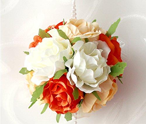 Beige Orange Lot de guirlande de roses artificielles lierre et fleurs pour décoration maison jardin