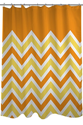 Bentin Home Deco Chevron Solid Shower Curtain, Orange/Yellow
