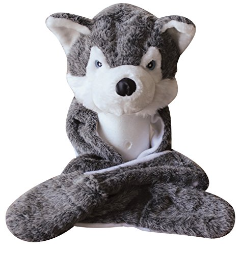 Plush Faux Fur Animal Critter Hat Cap - Soft Warm Winter Headwear - Short with Ear Poms and Flaps & Long with Scarf and Mittens available (Wolf - 3pc Scarf & Mittens)