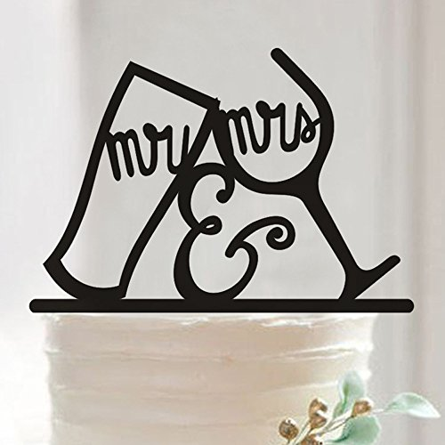 Mr and Mrs Wine Glass Cake Topper, Personalized Drinking Cup Wedding Birthday Party Cake Decoration