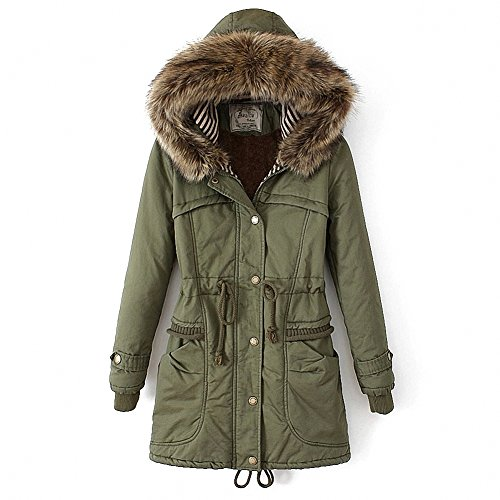Women's Winter Mid Length Thick Warm Faux Lamb Wool Lined Jacket Coat with Fur Hood (S, Armygreen) (Fur Hood Coat compare prices)