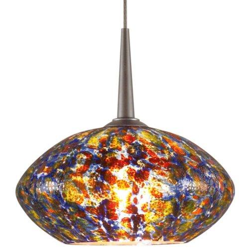 """Pandora 1 Light Mini Pendant Finish: Chrome, Canopy/Bulb Type: 4"""" Kiss Canopy/Led, Glass Color: Sapphire"""