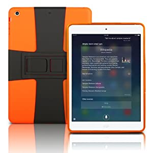 Photive iPad Air Lightweight Hard Shell Case with Built in 3 Position Kick Stand. Dual Layer Shock Absorbing Case for the iPad Air . Orange
