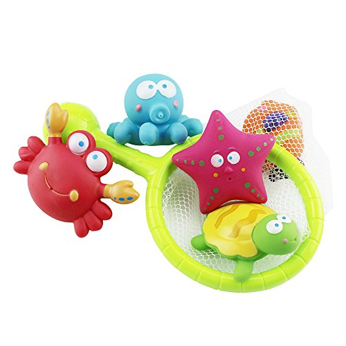 2016 Sealive Baby Bath Water Toy for Fish, Puzzle boxed Duck Toddler Soft Toys Bathtime Fishing Set with turtles,starfish, octopus,clownfish,for 3-48 months old baby using