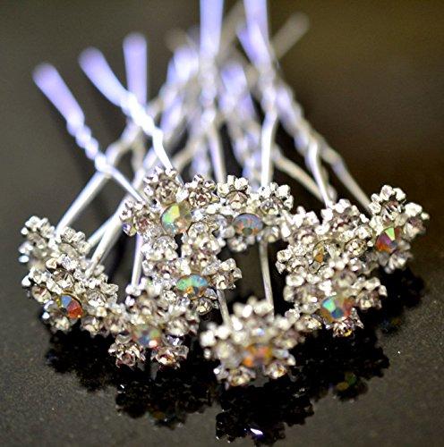 キラキラ 小さな雪の結晶 ラインストーン スノークリスタル ヘアピン&カラーオーガンジーお花のヘアピンセット Uピン 髪飾り ヘアアクセサリー 保存・携帯用ケース付 (10本セット)