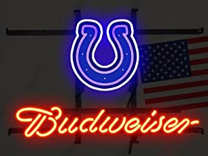 "NFL Indianapolis Colts Foodball Budweisier Real Glass Tube Neon sign with painting 19"" X 14"" Lower Price + Better Shipping the Best Offer!"
