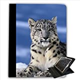 Snow Leopard Sitting In Snow For Apple iPad 2, 3 & 4 Faux Leather Folio Presenter Case Cover Bag with Stand Capability