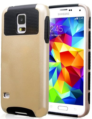 Mylife (Tm) Gold Sparkle And Dark Black - Free Flex Series (2 Layer Neo Hybrid) Slim Armor Case For The New Galaxy S5 (5G) Smartphone By Samsung (External Rubberized Hard Shell Flex Piece + Internal Soft Silicone Flexible Bumper Gel)