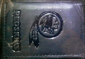 NFL Officially Licensed Washington Redskins Tri-Fold Leather Wallet (Black)
