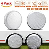"Amfor Set of 4 Tire Covers,Waterproof Aluminum Film Tire Sun Protectors,Fits 27"" to 29"" Tire Diameters,Weatherproof Tire Protectors"