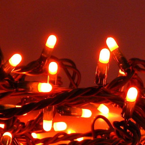 100 LED Lichterkette 10m ORANGE 8 Progr aussen