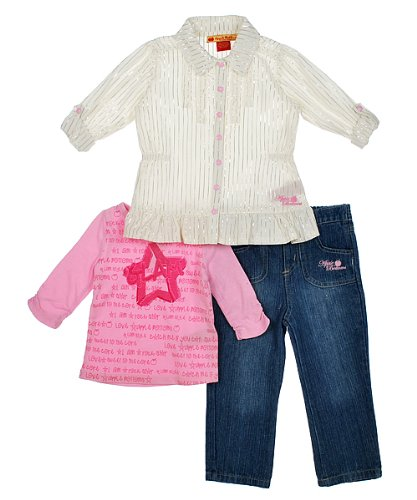 "Apple Bottoms ""Glam Star"" 3-Piece Outfit (Sizes 12M - 24M) - medium wash, 24 months"