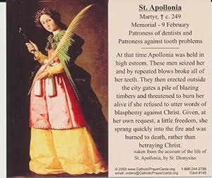 Amazon.com : Saint Apollonia Holy Prayer Card Patron Saint of Dentist