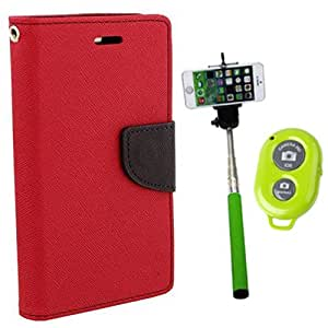 Aart Fancy Diary Card Wallet Flip Case Back Cover For Mircomax E311 - (Red) + Remote Aux Wired Fashionable Selfie Stick Compatible for all Mobiles Phones By Aart Store