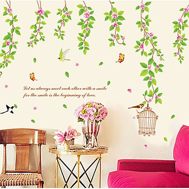 Zcl Green Leaves Pattern Wall Sticker(1Pcs)