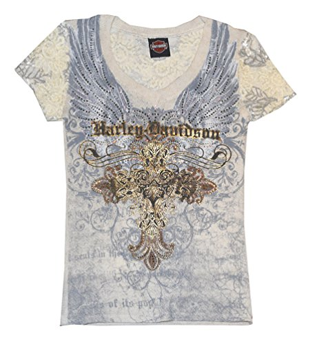 Harley-Davidson Women's Tee, Winged Cross Rhinestone Lace, Cream HD112CRM (M)