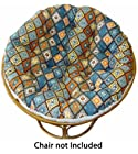 Cotton Craft - Papasan - Killim Print and Embroidered Blue Multi - Overstuffed Chair Cushion - Sink into our Really Thick and Super Comfortable Papasan Cushion - Pure 100% Cotton duck fabric - Perfect fit for your dorm, den or just about anywhere you want to be comfy and pampered - Fits Standard 45 inch round Papasan Chair - Chair not included