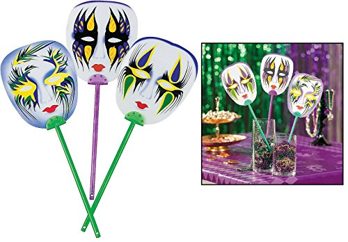 "Mardi Gras Mask Fans (12 Pack) 6 1/2"" Plastic Mask Is on an 8"" Handle."