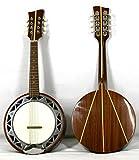 Musikalia Banjo Mandoline GAUCHER, avec caisse en aluminium, fond en acajou avec marqueterie en érable, de lutherie