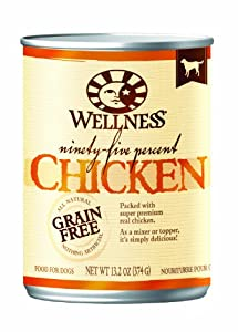 Wellness Canned Dog Food for Adult Dogs, 95-Percent Chicken, 13.2-Ounce Cans ,Pack of 12