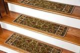 Dean Non-Slip Tape Free Pet Friendly Stair Gripper Carpet Stair Treads - Classic Keshan Sage Green 31