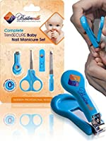 #1 Safety Baby Nail Clippers Set with Scissors and File, Complete Grooming Kit for Any Child Age, Newborn or Infant - Perfect Shower Gift, Blue Color from Bestonville