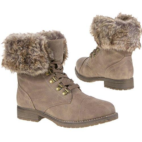 Damen Schuhe Stiefelette Schwarz Gr. 39 Schnürschuhe Khaki Gr. 40 Stiefel Abnehmbares Fell Damenstiefel Schnürstiefelette (40, Khaki)