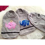 Generic Vintage Pet Clothes Dog Cat Sweater Elephant King Jumper Fashion Coat Clothing (Cream & Blue Elephant, L)