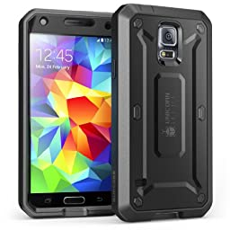 Galaxy S5 Case, SUPCASE [Heavy Duty] Samsung Galaxy S5 Case [Unicorn Beetle PRO Series] Full-body Rugged Case with Built-in Screen Protector (Black/Black), Dual Layer Design + Impact Resistant Bumper