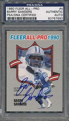 1990 Fleer All-Pro #4 Barry Sanders Certified Authentic Auto *7692 - PSA/DNA Certified - Football Slabbed Autographed Rookie Cards (Barry Sanders Auto compare prices)