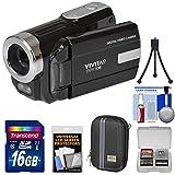 Vivitar DVR-508 HD Digital Video Camera Camcorder (Black) with 16GB Card + Case + Tripod + Kit