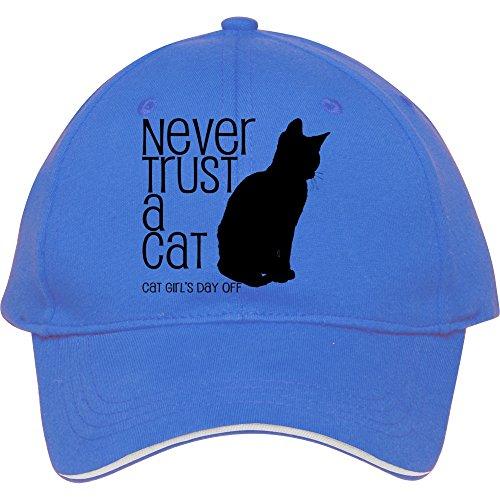 Never Trust A Cat Blue Snapback Cap Hat For Male/female Baseball Cap Cotton Carlareyno