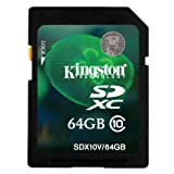 Kingston Digital 64 GB SDHC/SDXC Class 10 UHS-1 Flash Memory Card 30MB/s (SDX10V/64GB)