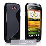 Yousave Accessories HTC One S Case Black S-Line Silicone Gel Cover With Screen Protector ~ Yousave Accessories