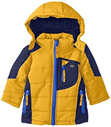 YMI Baby Boys\' Bubble Color Block Jacket with Detachable Hood, Gold, 12 Months
