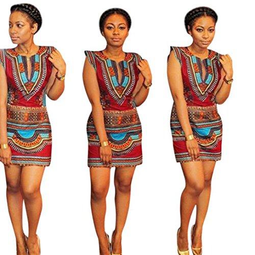 Wensltd Clearance! Women Traditional African Print Dashiki Bodycon Dress (XL, Multicolor)
