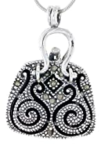 Hot Sale Sterling Silver Marcasite Filigree Purse Locket / Prayer Box