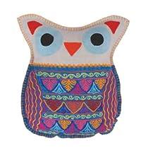 Karma Living Felt Embroidered Owl Throw Pillow - White
